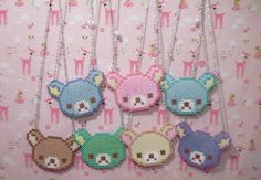 Rainbow Rilakkuma necklaces perler beads