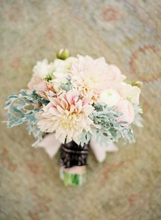 I love this color scheme and the use of Dusty Miller ib the bouquet!!!  (Tyra!)  Bridesmaid Bouquets, West Coast Real Weddings, Pastel