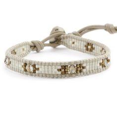Bronze Shade Beaded Single Wrap Bracelet on Beach Leather - Chan Luu