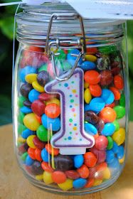 Mason jar with number candles and m