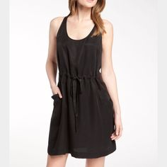 """Black now & leather Rebecca Taylor tank dress Soft tank dress with leather trimming. About 36"""" from shoulder to hem. Made of cupro & lyocell. Never been warn. Rebecca Taylor Dresses"""