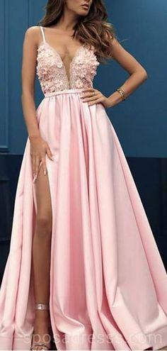 Prom Dress For Teens, Charming Pink V-neck Sleeveless Split Prom Party Dress with Appliques, cheap prom dresses, beautiful dresses for prom. Best prom gowns online to make you the spotlight for special occasions. Split Prom Dresses, Straps Prom Dresses, Pink Prom Dresses, Sweet 16 Dresses, A Line Prom Dresses, Beautiful Prom Dresses, Cheap Prom Dresses, Prom Party Dresses, Graduation Dresses