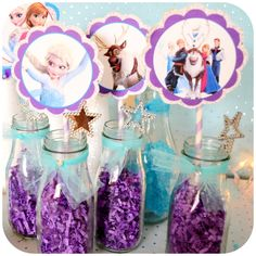 Disney Frozen | CatchMyParty.com  simple centerpieces