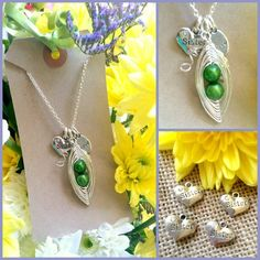 SISTER PERSONALISED Peas-in-a-Pod Family Handmade Pendant £14.50