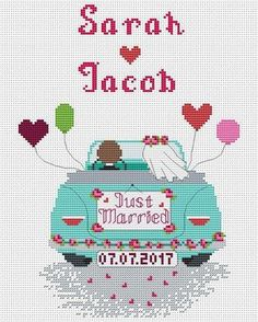 Custom wedding gift - Just married - Cross Stitch Pattern pdf. The pattern will fit nicely in a 8x 10 frame (or 20 cm x 25 cm) on 14 count fabric. ★★★ Pattern specifications ★★★ This listing is for the PDF pattern only! Just download, print and cross-stitch! ➔ Stitches used: full cross
