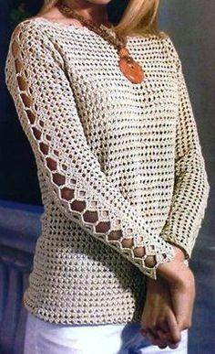 Pullover crochê bege com uma manga bonita. Discussão sobre LiveInternet - Russo serviço de diários on-line