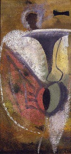 Untitled [MR11] (c.1940) by Armenian-born American painter Arshile Gorky (1904-1948). Oil on composite board, 24 x 11.25 in. via Michael Rosenfeld Art