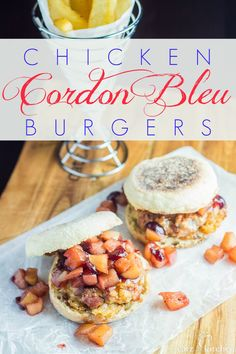 This Chicken Cordon Bleu Burger recipe has it all. Ready in 30 minutes. Swiss cheese, ham, apple chutney, and chicken - all for 560 calories! MUST. EAT.