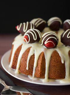 Strawberry Bundt Cake with White Chocolate Ganache is a beautiful, tasty dessert