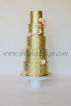 Shannon Bond Cake Design/ Gold Wedding Cake/ www.sbcakedesign.com