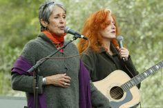 Joan Baez and Bonnie Raitt What a blissful night it would be to attend a concert by these two wonderful artists and influential women. Bonnie Raitt, Early Music, Joan Baez, Folk Music, Soundtrack, Blues, Female, Concert, Celebrities