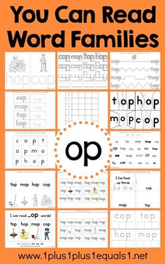 FREE OP Word Family Printables. Lots of photos and ideas for using them too!