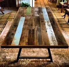 Reclaimed Wood & Steel Dining Table with Bench by RevivalSupplyCo Wooden Pallet Crafts, Wood Pallet Tables, Pallet Dining Table, Diy Wooden Projects, Steel Dining Table, Reclaimed Wood Dining Table, Dining Table With Bench, Reclaimed Wood Projects, Repurposed Wood