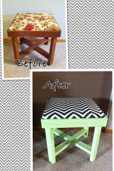 Footstool makeover   Chalk paint and chevron fabric