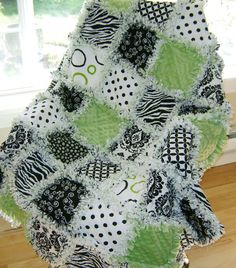 LOVE THE COLORS FOR A BABIES ROOM-prefringed cut rag quilt KIT GREEN minky and damask sampler
