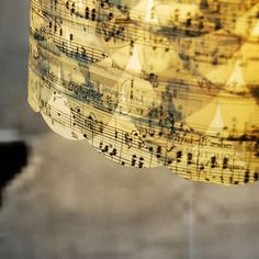 music lamp shade- would love to do this with one of my old hymnals!!