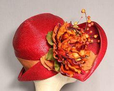 SALE was 75.00 Red Cloche Church Crown Hat by WoodlandGlassVintage