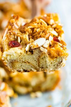 Make French toast for a crowd with this easy overnight french toast bake! To lighten things up a bit the recipe uses a mixture of eggs and egg whites, almond milk and maple syrup for sweetness. Challah French Toast, Make French Toast, Overnight French Toast, Food Network Recipes, Cooking Recipes, Almond Milk Recipes, Cupcakes, Fancy Desserts, Best Breakfast
