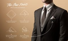 """Pocket square folding techniques: """"The One Point"""""""