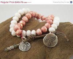 VALENTINES DAY SALE Boho Chic Knotted Beaded Leather Double Wrap Sundance Bracelet - Pink and White Czech Beads & White Jade Beads - Hill Tr on Etsy, $41.18