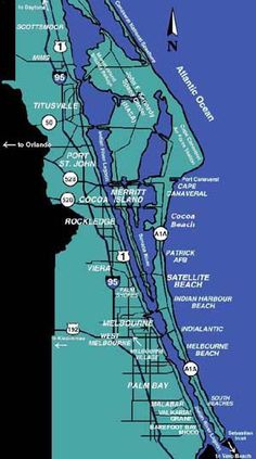 Map Of Brevard County Merritt Island Cocoa Beach Melbourne To