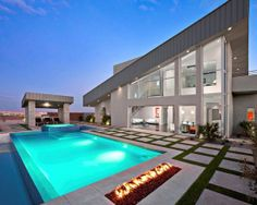 uhhmmm sure ill live here someday! pool, fire pit, modern home design, BEAUTIFUL