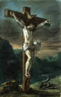 Christ on the Cross Eugène Delacroix circa National Gallery of Canada - Ottawa (Canada) Drawing - pastel Height: cm in. Catholic Art, Religious Art, Pontius Pilatus, Romanticism Artists, The Cross Of Christ, Jesus Pictures, Sacred Art, Bible Art, Christian Art