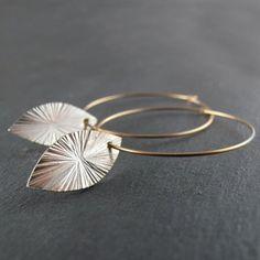 Hoop Drop Leaf Earrings - 14k Gold Filled Hoops, Sterling Silver Leaf