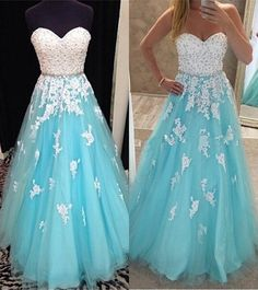 Charming Prom Dress,Tulle Blue Prom Dress,Lace Evening Dress,Sleeveless