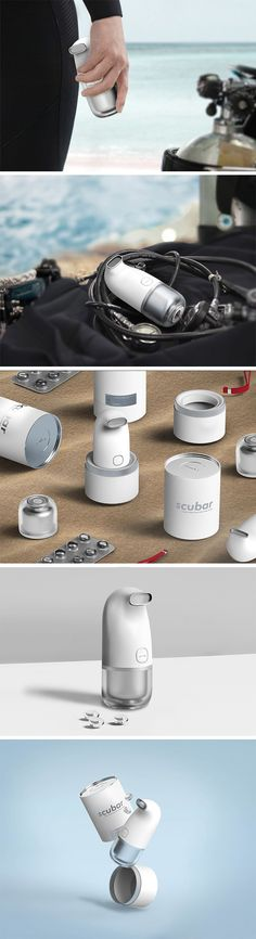 """The Scubar makes it possible to stay hydrated even when you're underwater, where you can't quench your thirst while scuba diving. This specialized water bottle dispenses capsules made of gelatin, filled with water. Simply replace your oxygen mouthpiece with Scubar and """"drink"""" up!"""