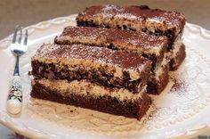 Kávés - tejszínes szelet Hungarian Desserts, Hungarian Recipes, Cake Bars, Sweet And Salty, Cake Cookies, Sweet Recipes, Food And Drink, Cooking Recipes, Sweets