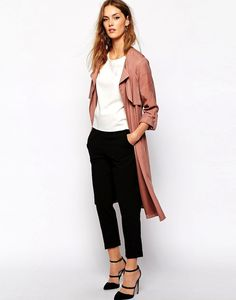 rose pink trench coat, white top, cropped black pants & strappy heels #spring #style #fashion