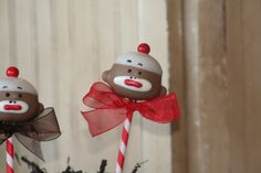 SOCK MONKEY CAKE POPS!!  Mom's Killer Cakes & Cookies Original Design via Etsy.  2 dozen custom cake pops.