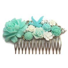 Blue Rose Comb-Wedding Fascinator-Fashion Hair Comb-Floral