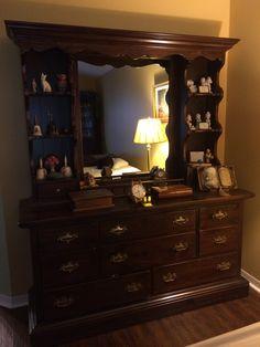 Ethan Allen Dark Antiqued Pine Mirror Shelf Dresser Upper