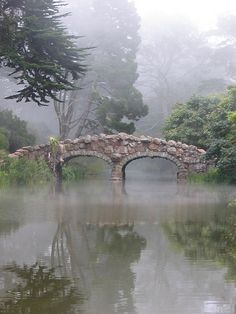 Stone bridge, Stow Lake, Golden Gate Park, San Francisco. The bridge connects Strawberry Island in the center of the lake with the strolling walkway around the lake.