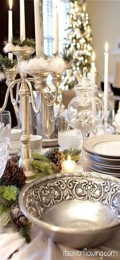 White Christmas by Vintage Shabby Pink www.tablescapesbydesign.com https://www.facebook.com/pages/Tablescapes-By-Design/129811416695