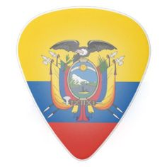 #Ecuador country flag symbol long white delrin guitar pick - #country gifts style diy gift ideas