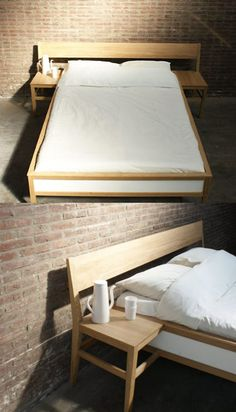 Make a headboard out of a church pew. Built in side tables, and cool antique look.  Excited!