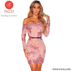 03132fe208120 Wendywu 2017 Autumn Free Shipping Sexy Slash Neck Long Sleeve Sequined Pink  Club Bodycon Mini Dress