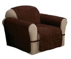 Innovative Textile Solutions Ultimate Furniture Protector Chair, Chocolate Faux Suede soft yet durable. Ultimate covers more the furniture. Armchair Slipcover, Furniture Slipcovers, Slipcovers For Chairs, Kitchen Sofa, Box Cushion, Recliner, Cushions, House, Fill