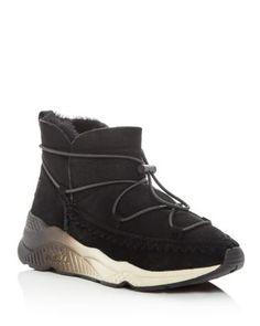 ASH Women's Mitsouko Shearling Wedge Sneaker Booties. #ash #shoes #