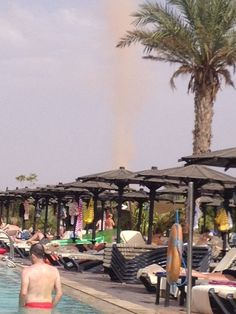 In the sky you can see a sand tornado / Marrakech.
