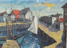 Estate-Found-WPA-Artist-Harry-Shoulberg-Signed-Serigraph-Print-Fishing-Cove