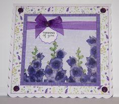 Card created using Ultra Violet Flora Collection, made by Debbie Moran. www.craftworkcards.com Craftwork Cards, Ultra Violet, Card Ideas, Flora, February, Paper Crafts, Vogue, Tea, Frame