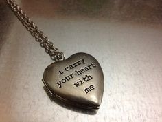 """i carry your heart with me Locket Necklace, the inside left says """" (i carry it in my heart) """" i also love that it has a 24"""" chain @Zack Spalding i want this"""