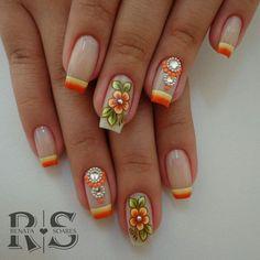 As 20 melhores unhas decoradas com esmalte laranja French Nail Designs, Nail Art Designs, Michelle Nails, Mobile Nails, Nail Candy, Flower Nail Art, Clear Nails, Fabulous Nails, Bling Nails