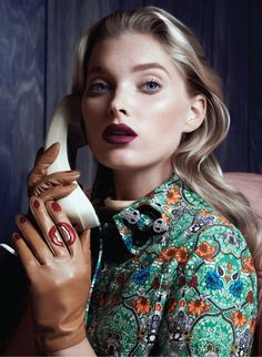 Model Elsa Hosk channels Alfred Hitchcock heroines in the beauty editorial