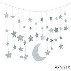 Camp Glam Glitter Moon & Stars Garland