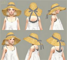 Child Back Ribbon Wide Floppy Hat at Marigold via Sims 4 Updates